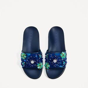 NWT Zara Blue Floral Slides 6.5